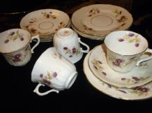 4 X ELEGANT CROWN CHINA GILDED TRIOS + GLEN 1134 PURPLE BLUE DAISIES TEXTURED
